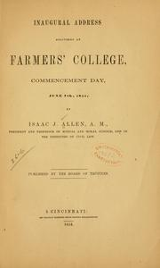 Cover of: Inaugural address delivered at Farmers' college, commencement day, June 7th, 1854