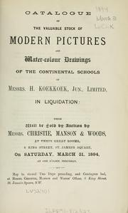 Cover of: Catalogue of the valuable stock of modern pictures and water-colour drawings of the continental schools