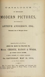 Cover of: Catalogue of important modern pictures, the property of Arthur Anderson, Esq