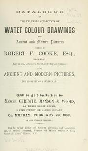 Cover of: Water-colour drawings and ancient and modern pictures