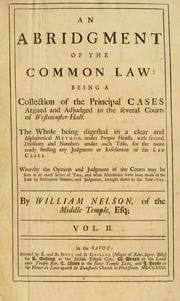 Cover of: abridgment of the common law | Nelson, William