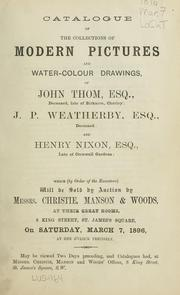 Cover of: Catalogue of the collection of modern pictures and water-colour drawings