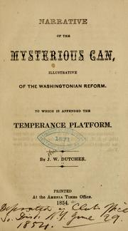 Cover of: Narrative of the mysterious can | John W. Dutcher