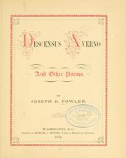 Cover of: Descensus Averno and other poems | Joseph B. Fowler