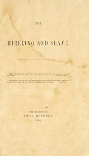 Cover of: hireling and slave. | Grayson, William J.