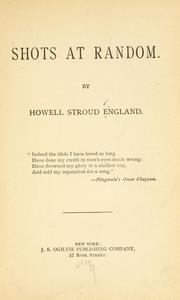 Cover of: Shots at random [poems] | Howell Stroud England