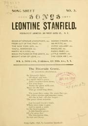 Cover of: Songs by Leontine Stanfield ... | Leontine Stanfield