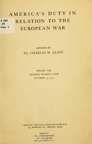Cover of: America's duty in relation to the European war