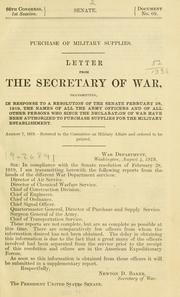 Cover of: Purchase of military supplies. | United States. War Dept.