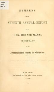 Cover of: Remarks on the seventh annual report of the Hon. Horace Mann | Association of Masters of the Boston Public Schools.