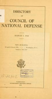 Cover of: Directory. | United States. Council of National Defense.