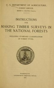 Cover of: Instructions for making timber surveys in the national forests | United States. Forest Service.