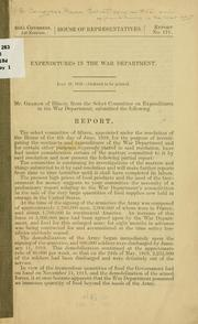 Cover of: Expenditures in the War department ... | United States. Congress. House. Select Committee on Expenditures in the War Department.