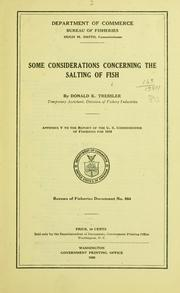 Cover of: Some considerations concerning the salting of fish