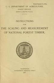 Cover of: Instructions for the scaling and measurement of national forest timber | United States. Forest Service.