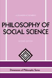 Cover of: Philosophy of social science