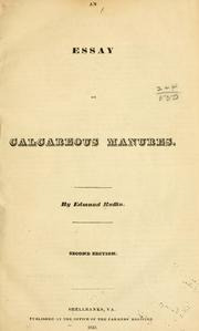 Cover of: An essay on calcareous manures
