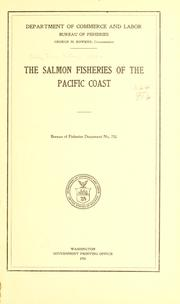 Cover of: The salmon fisheries of the Pacific coast