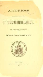 Cover of: Address delivered before the N. Y. state agricultural society