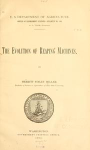 Cover of: evolution of reaping machines. | Merritt Finley Miller