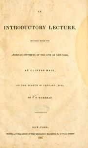 Cover of: introductory lecture | Thaddeus B. Wakeman