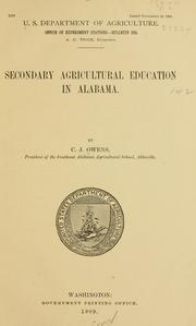 Cover of: Secondary agricultural education in Alabama