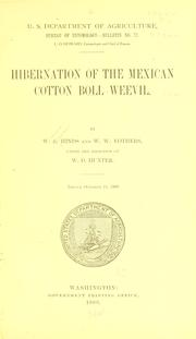 Cover of: Hibernation of the Mexican cotton boll weevil. | W. E. Hinds