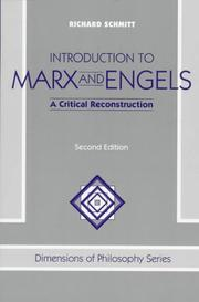 Cover of: Introduction to Marx and Engels: a critical reconstruction