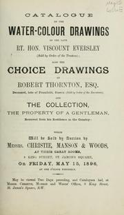 Cover of: Catalogue of the water-colour drawings of the late Rt. Hon. Viscount Eversley