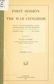 Cover of: First session of the War congress
