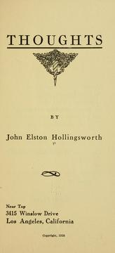 Cover of: Thoughts ... | John Elston Hollingsworth