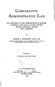 Cover of: Comparative Administrative Law: An Analysis of the Administrative Systems ..