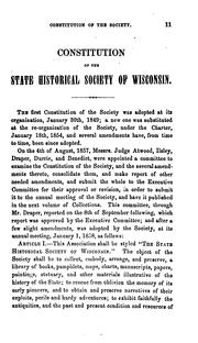 Collections of the State Historical Society of Wisconsin by State Historical Society of Wisconsin