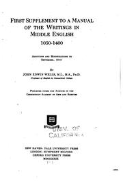 Cover of: A Manual of the Writings in Middle English, 1050-1400. Supplement | John Edwin Wells