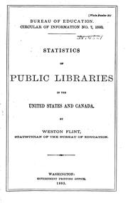 Cover of: Statistics of Public, Society and School Libraries by United States. Office of Education.