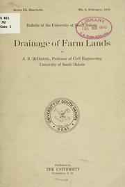 Cover of: Drainage of farm lands
