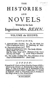 Cover of: The Plays, Histories, and Novels of the Ingenious Mrs. Aphra Behn: With Life and Memoirs ..