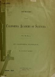 Cover of: On California Eudrilidæ