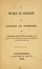 Cover of: A Word in season to candidates for confirmation