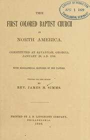 The first colored Baptist Church in North America by James Meriles Simms