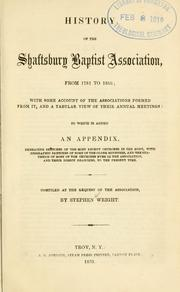 Cover of: History of the Shaftsbury Baptist association, from 1781 to 1853