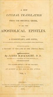 Cover of: A new literal translation from the original Greek, of all the apostolical epistles |