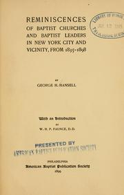 Cover of: Reminiscences of Baptist churches and Baptist leaders in New York city and vicinity, from 1835-1898..