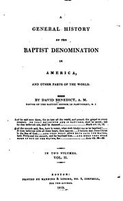 Cover of: general history of the Baptist denomination in America | David Benedict
