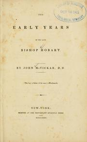 Cover of: The early years of the late Bishop Hobart