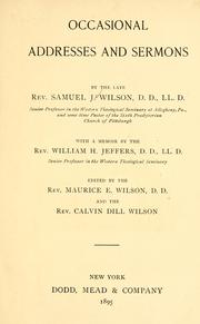 Cover of: Occasional addresses and sermons