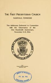 Cover of: The First Presbyterian Church, Nashville, Tennessee |