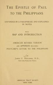 Cover of: The Epistle of Paul to the Philippians | James Foote Holcomb