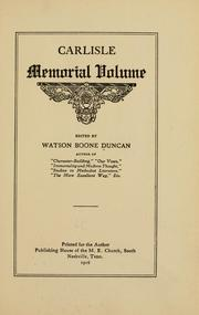 Cover of: Carlisle memorial volume | Duncan, Watson Boone