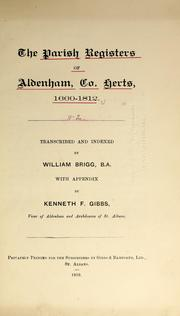 Cover of: The parish registers of Aldenham, Hertfordshire. by Aldenham, Eng. (Parish)